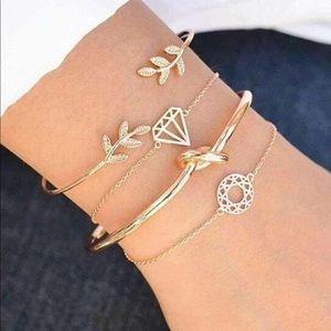 Twist & Leaf Design Bracelet Set 4pcs